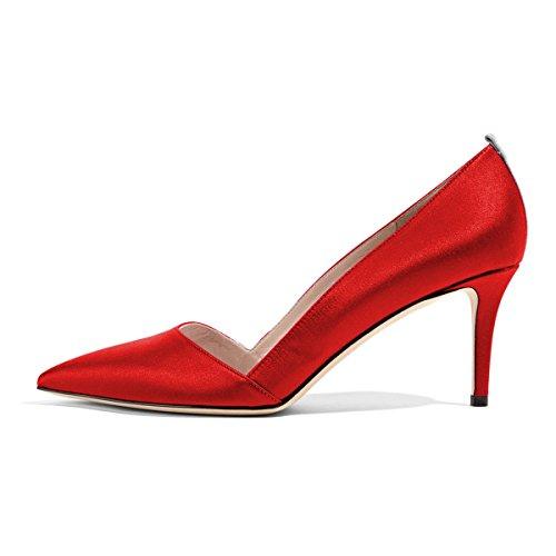 FSJ Women Elegant Pointed Toe Mid Heels Satin Dress Pumps Slip On Evening Party Shoes Size 9.5 Red