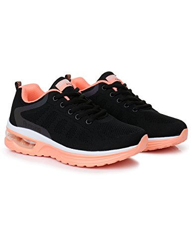 Jogging Sneakers 10 Rosone Air Women's Gym orange Breathable Sport Athletic Fitness US5 Lightweight Black Running Shoes f0vraqfPO