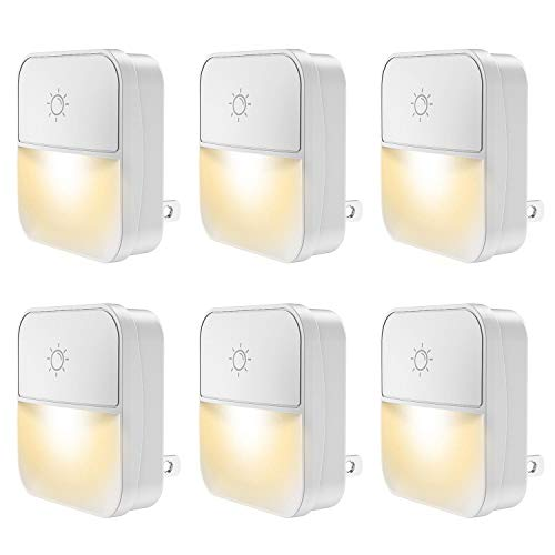 Plug-in Night Light, POWRUI Warm White LED Nightlight Lamp with Touch Sensor with 4-Level Adjustable Light and Dusk-to-Dawn Sensor for Hallway, Kitchen, Bathroom, Bedroom, Stairs, 6-Pack