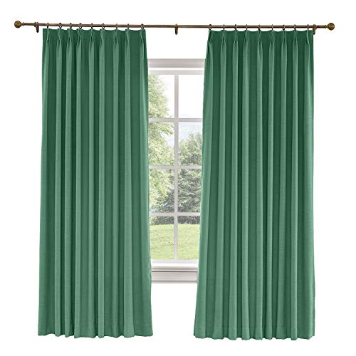(CosyPages Pinch Pleated, 50W x 63L(1 Panel) Luxury Linen Polyester Window Drapery Curtain, Blackout Curtain, Peacock, Curtain for Sliding Glass Door Patio Door Living Room)