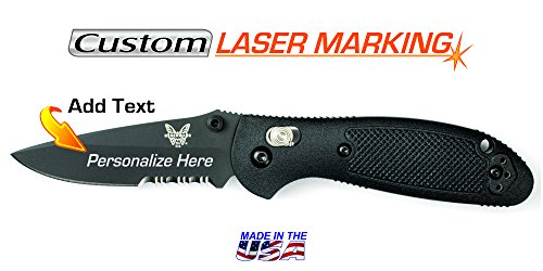 Custom Laser Engraved Benchmade Mini Griptilian Black Serrated Edge ()