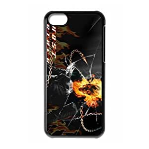 superhero fil Ghost Rider Personalized iPhone 5C Hard Plastic Shell Case Cover White&Black(HD image)