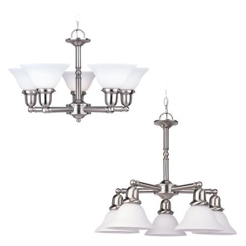 Sea Gull Lighting 39062BLE-962 Five-Light Fluorescent Sussex Chandelier, Brushed Nickel Finish with Satin White Glass (Fluorescent Chandelier)
