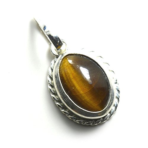 55Carat Natural Genuine Tigers Eye Pendant 3 Carat Oval In 92.5 Sterling ()