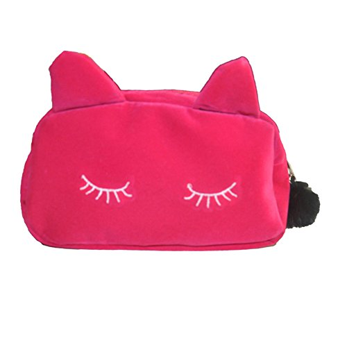 Domybest 95426 - Bolso al hombro de Terciopelo para mujer talla única rosa roja