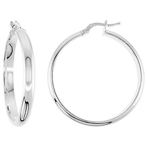 High Pirates Polish (Sterling Silver Pirate Hoop Earrings Half Round Post Snap Closure High Polish Large, 1 3/8 inch)