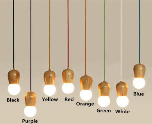 FidgetGear Modern Colorful Wood E27 DIY Ceiling Lamp Holder Hanging Pendant Lights Fixture Red by FidgetGear (Image #2)