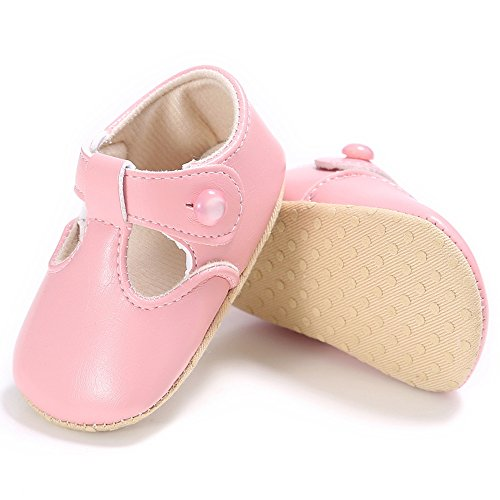 R&V Toddler Baby Girls Moccasions Anti-slip Soft Sole Mary Jane Princess Crib Shoes 0-18Months (4 M Toddler, Pink)