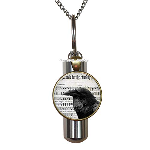 Ni36uo0qitian0ozaap Raven with Music Sheet Glass URN.Raven Music Bird Cremation URN Necklace. Jewelry,Birthday Gift,TAP212