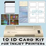 ID Card Printer - 10 ID Card Kit - Laminator, Inkjet Teslin, Butterfly Pouches, and Holograms - Make PVC Like ID Cards