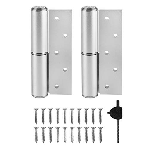 - 5inch Hydraulic Door Hinge H-Shaped Mute Hydraulic Buffer Automatic Right Open Closing Hinge Door Closer Sand Silver