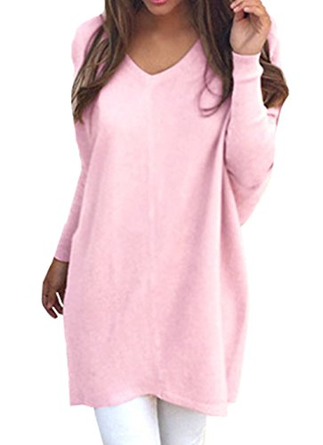 Women's Long Batwing Sleeve Rib Knitted Casual Loose Sweater Cardigan Pink L