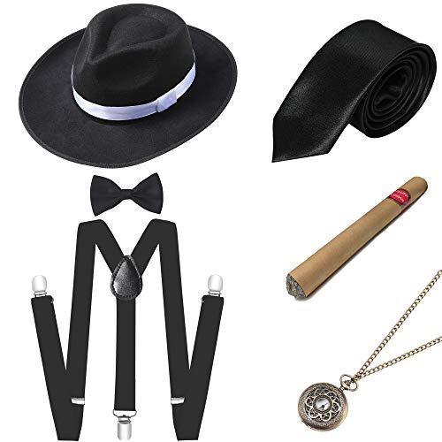 BABEYOND 1920s Mens Gatsby Gangster Costume Accessories Set Panama Hat Suspender (Style2-Black) (1920 Sonnenbrille)