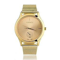 Learnin Mens Womens Alloy Belt Watches Unisex Minimalist Quartz Watch (Gold)