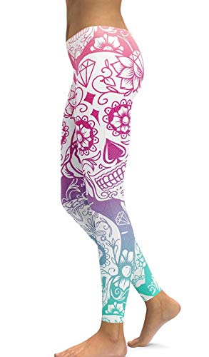 Women's Halloween Sugar Skull Printed Leggings Ankle Length Tights Capris Pants (Medium, -