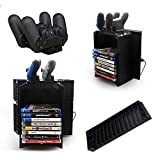 Disk Storage Tower with Controller Charging Dock and Console Stand for Sony Playstation 4 PS4
