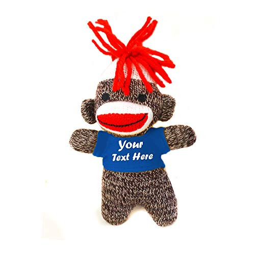 Plushland 98-052 Colors of Love sockiez Keychain 4 Inches Personalized Gift - Custom Text on T-Shirt - Great Present for All Ages. (Brown Sockie Royal Tee)