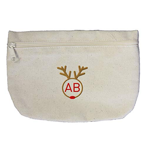 Custom Embroidery Monogram 2 Letters Christmas Reindeer Face Frame Cotton Canvas Makeup Bag Zippered Pouch