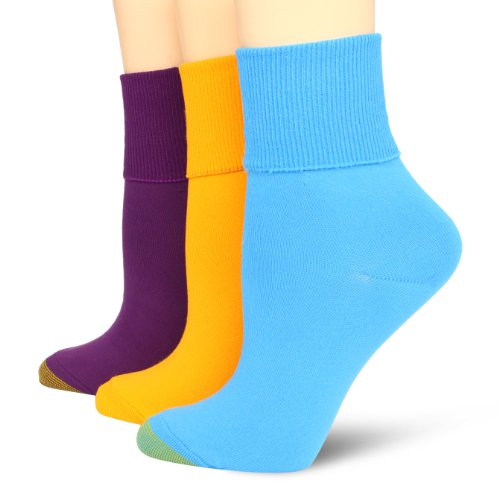 Gold Toe Womens Anklets (Gold Toe Women's 3 Pack Pair Nylon Anklet Socks, Aqua/Sunset/Plum, One Size)