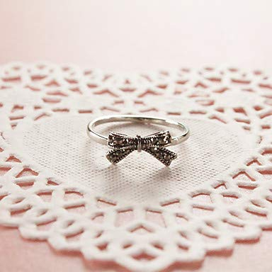 Silver 5 FSKLN Ring Statement Rings Unique Design Rhinestones Cute Style Euramerican Personalized Adorable Simple Style Fashion Zinc Alloy Bowknot for Women