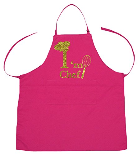 Hot Chef Costumes (Petitebella Bling I'm Chef Polyester Kitchen Apron for Children (Hot Pink))