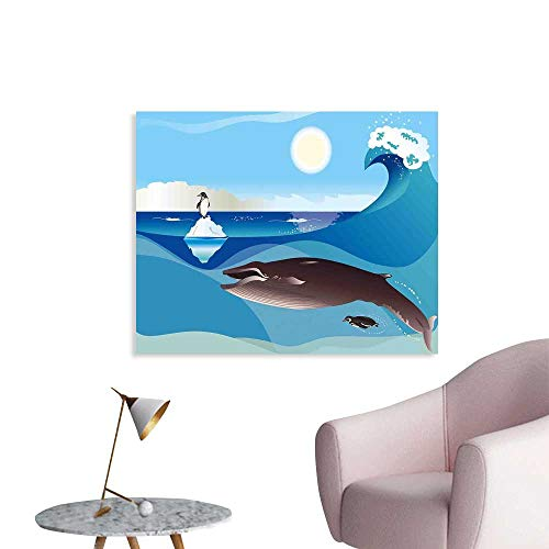 J Chief Sky Whale Decals North Pole Graphic Landscape with Penguin Wave and Sun Children Love Print Wall Stickers for Kids W20 xL16
