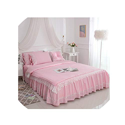 Luxury Ruffle Lace Duvet Cover Bed Skirt White Pink 100% Cotton Bedding Set 4/6 Pc King Queen Twin Size Bed Sheet Set Pillow Shams,Color5,Queen 6Pcs,Flat Bed Sheet]()