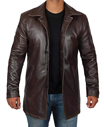 Blingsoul Mens Leather Coat - Distressed Leather Jacket Men 2019 | [1500035] Super N Brown, XL ()