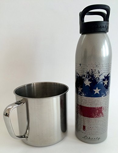 American Flag Patriot Water Bottle Liberty Artist Series Freedom 1776 with Large Jacob Bromwell Stainless Steel Mug by Liberty