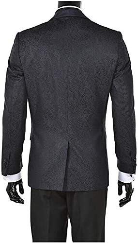 AK Beauty Mens Jacquard 2 Piece Suit Slim Fit Wedding Suit Tuxedo Blazer Tux Vest /& Trousers