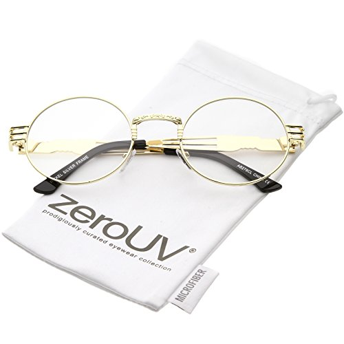 zeroUV - Unique Engraved Metal Steampunk Inspired Clear Lens Oval Eye Glasses 60mm (Gold / Clear - Steampunk Inspired Fashion