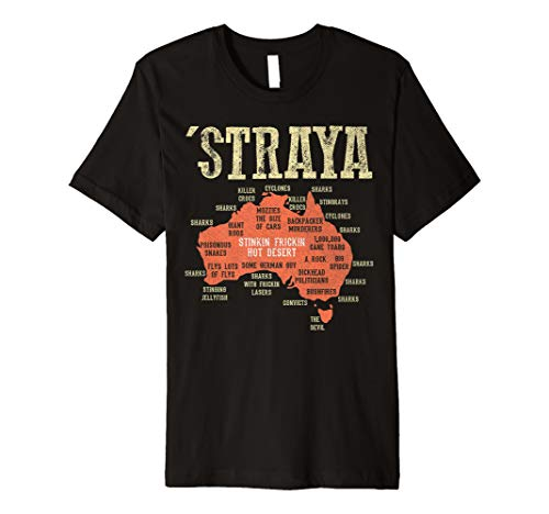 Vintage Aussie Day Straya Australia Map G'day Mate Outback Premium T-Shirt (Map Of Sydney Australia And Surrounding Area)