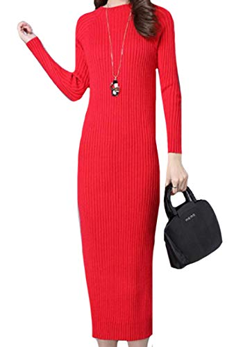 Fall Women Ribbed Winter Knitted Dress Coolred The Below Red Knee Pencil qAf4p