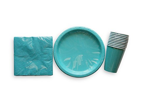 Birthday Party Supply Kit - Teal Blue - Plates, Cups and Napkins