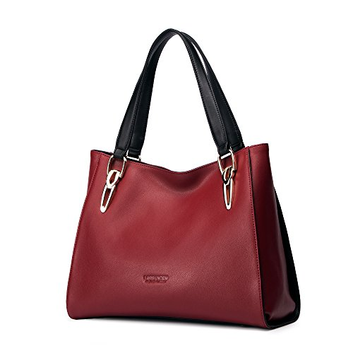 LAORENTOU Women's Bag Leather Handbag Lady Shoulder Purse Cowhide Tote (red)