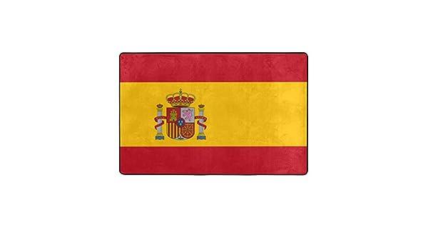 ZUL Alfombrilla baño, Alfombra de Cocina Puerta Pies Estera Felpudo,Bandera española roja de España Armas Dimensiones precisas Proporciones y Colores Amarillo Oficial 75X45cm: Amazon.es: Hogar