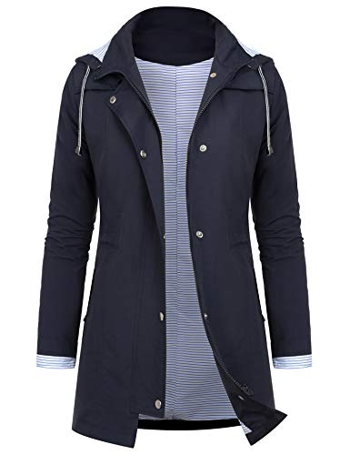 AUDIANO Rain Jackets Women Lightweight Raincoat Striped Lined Waterproof Windbreaker Active Outdoor Hooded Trench Coats Navy Blue M