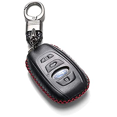 Vitodeco Leather Keyless Remote Smart Key Fob Case Cover with a Key Chain for 2020-2020 Subaru Forester, Impreza, Outback, WRX, BRZ, XV Crosstrek (4-Button, Black/Red): Automotive