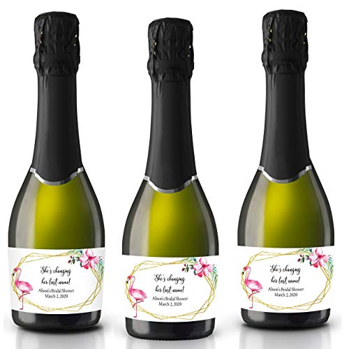 She is changing her last name! by LoveAtEverySight, Bridal Shower Mini Champagne Bottle Label, Customized, Personalized Mini Champagne Label, Floral Theme set of 8