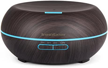 InnoGear Aromatherapy Essential Oil Diffuser Wood Grain Ultrasonic Cool Mist Diffusers with 7 Color LED Lights Waterless Auto Shut-off, 200mL