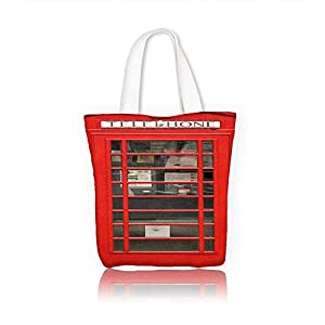 Reusable Cotton Canvas Zipper bag British Red Phone Booth isolated on white Tote Laptop Beach Handbags W12xH14xD4.7 INCH