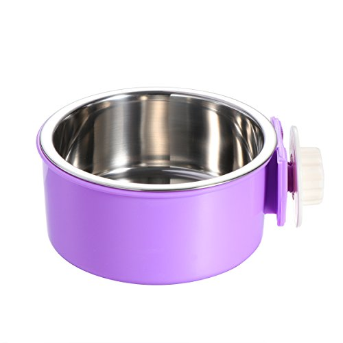 Steel Dog Cages (UEETEK Stainless Steel Pet Hanging Cage Dog Cat Birds Bowl Small Animal Food Water Bowl (Purple))