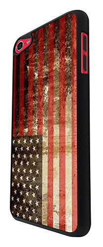 002986 - Vintage Style American Flag Old Glory Star Spangled Banner Design For Apple ipod Touch 5 Fashion Trend CASE Back COVER Plastic&Thin Metal - Black