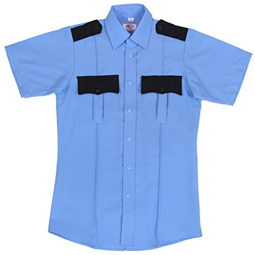 [First Class Two Tone Short Sleeve Shirt-Light Blue & Black-S] (Highway Patrol Costume)