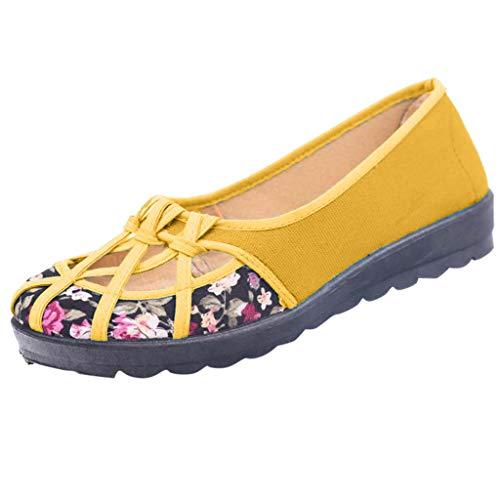 Shusuen Women's Bird Nest Jelly Ballet Flats Criss Cross Hollow Out Soft Dance Shoes Yellow