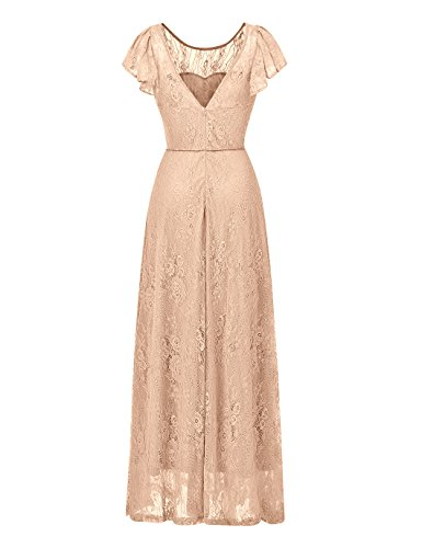 Dress Lace Floral Maxi Champagne Dress Evening Women's Bridesmaid Party BeryLove Wedding Long vRwOFxcqH