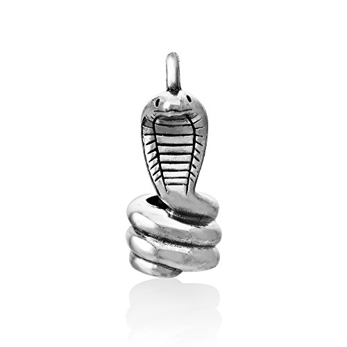 WithLoveSilver Sterling Silver 925 Charm 3D Snake King Cobra Pendant