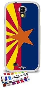 Carcasa Flexible Ultra-Slim SAMSUNG GALAXY S4 de exclusivo motivo [Bandera Arizona] [Blanca] de MUZZANO  + ESTILETE y PAÑO MUZZANO REGALADOS - La Protección Antigolpes ULTIMA, ELEGANTE Y DURADERA para su SAMSUNG GALAXY S4