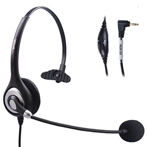 Bingle 2.5mm Monaural Telephone Headset with Noise Cancelling Boom Microphone & Volume Mute Controls for Cisco Linksys SPA Polycom Grandstream Panasonic Office Deskphone DECT Cordless Phones by BINGLE