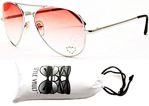 A67-vp Aviator Pilot Colored Lens Metal Sunglasses (B1316F Silver-Red, - Rhinestone Heart Sunglasses